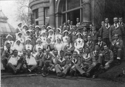 Nursing Staff and Patients outside Ashcombe House Red Cross Hospital in Weston-Super-Mare, Somerset