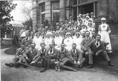 Nursing Staff and Patients outside Ashcombe House Red Cross Hospital in Weston-Super-Mare, Somerset; RCB/2/9/5/131