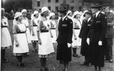 Inspection of Junior Detachments by the Princess Royal, Dame Beryl Oliver and Mrs Ridley; RCB/2/9/5/102