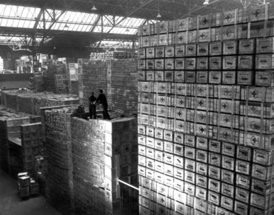 Interior of Grand Palais warehouse in Geneva showing Canadian Red Cross cartons and individual American Red Cross packages