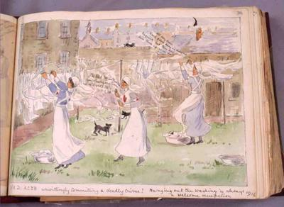 Watercolour sketch of VADs, including Edith Drummond-Hay and Agnes Drummond-Hay, in indoor uniform putting out washing