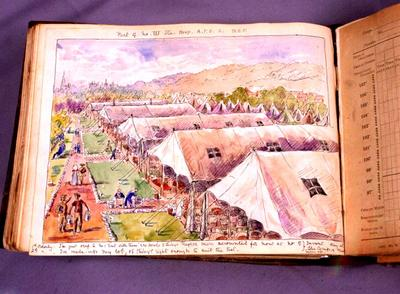 Watercolour sketch of a tented hospital and two orderlies speaking about inventory day at the camp