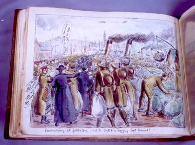 Watercolour sketch of Edith Drummond Hay, in outdoor uniform, in crowd trying to embark on ferry at Folkestone to travel for service in France