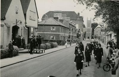 Group of Officers marching past Officers and Officials from Farnham Division, Surrey