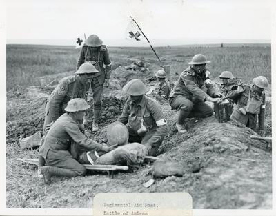 Regimental first aid post at the Battle of Amiens