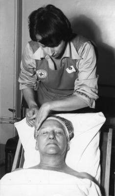 Black and white photograph. Beauty care in hospitals