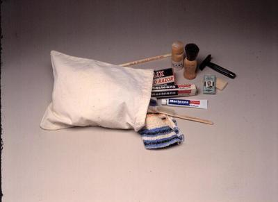 Colour photograph of a comforts bag