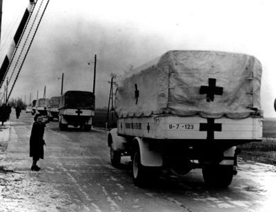 A Red Cross convoy entering Hungary
