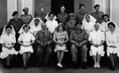 Black and white photograph. Lady Limerick and British Red Cross staff in Multan, Pakistan