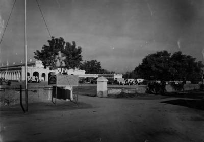 Black and white photograph. Entrance of British Red Cross No1 Hospital in Multan, Pakistan