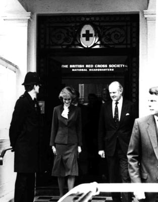 Diana, Princess of Wales on a visit to National Headquarters in London
