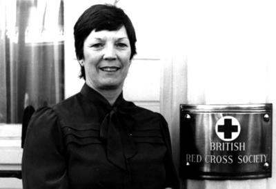British Red Cross nursing delegate Liz Lamb outside National Headquarters in London