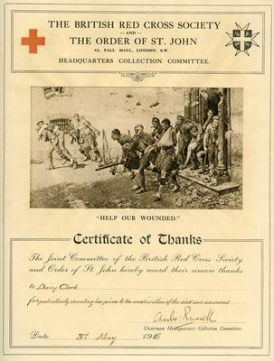 Certificate from the Headquarters Collections Committee