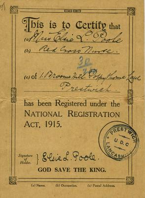 National Registration Identity card issued to Elsie L Poole