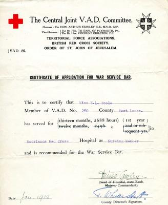 Certificate of Application for War Service bar awarded to Elsie L Poole