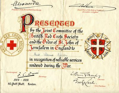 Certificate for services rendered 1914-1919 awarded to Miss Florence Egerton