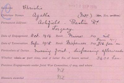 First World War service record card for Dame Agatha Christie, author