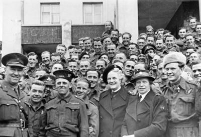 Mrs Clementine Churchill and her secretary, Miss Mabel Johnson, with group of officers and servicemen in Odessa, Russia