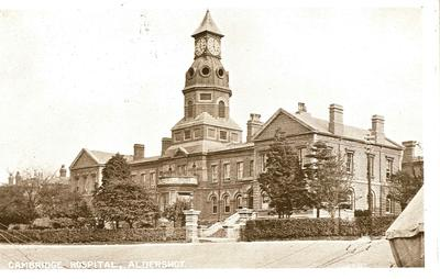 Postcard showing exterior view of Cambridge Military Hospital in Aldershot