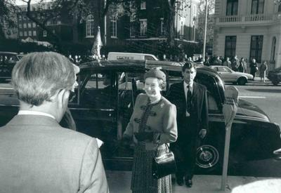HM Queen Elizabeth II arriving at national headquarters and being greeted by Lady Limerick