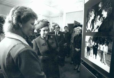 HM Queen Elizabeth II during a visit to national headquarters; RCC/6/IN2065