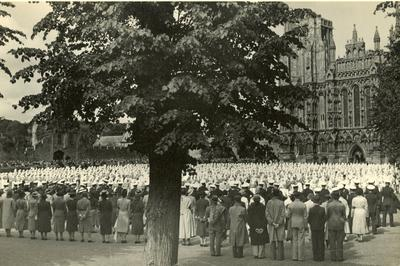 Inspection outside Wells Cathedral by the Princess Royal with Mrs Ridley