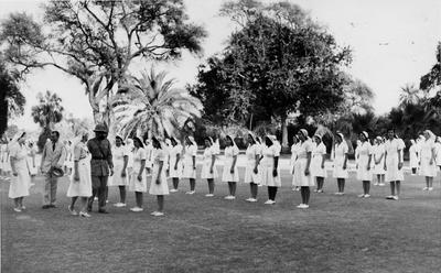 Personnel of the Red Cross Society of the Sudan at an inspection at The Palace, Khartoum, Sudan