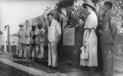 Sir Ronald Howe, Lady Robertson and Mr Ronald Gilchrist after the laying of the foundation stone for the new Sudan Red Cross Headquarters in Khartoum