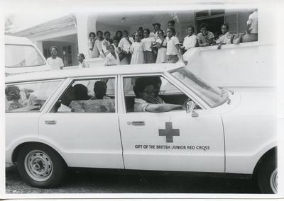 VAD and cadets leaving Antigua Red Cross headquarters with a supply of blankets and clothing to be distributed to needy folk in the country districts