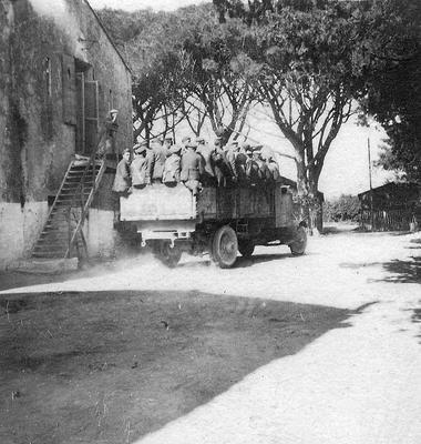 German prisoners of war in an open truck in France