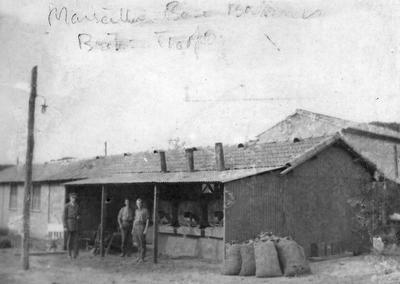 Bakery in France with three British Red Cross members