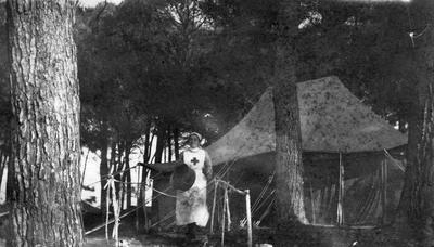 Red Cross nurse in front of the dressing tent at Staionary Hospital, Marseilles