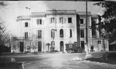 Stationary Hospital Marseilles with a Red Cross vehicle outside