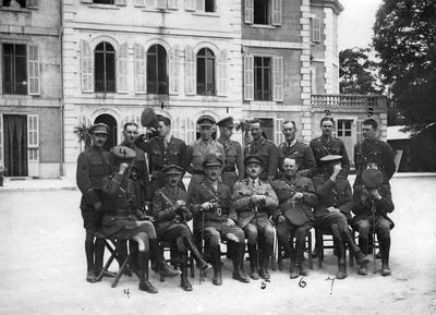 Group of sixteen servicemen outside a building [Ashton Court Hospital, Bristol]