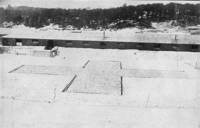 Display in the shape of a red cross in the hospital grounds, Etaples