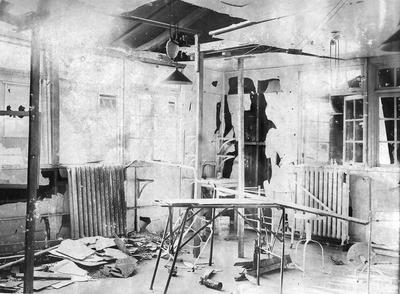 Operating theatre at 56 General Hospital, Etaples with bomb damage