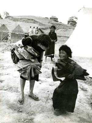Black and white photograph. Welfare relief for children in Nepal