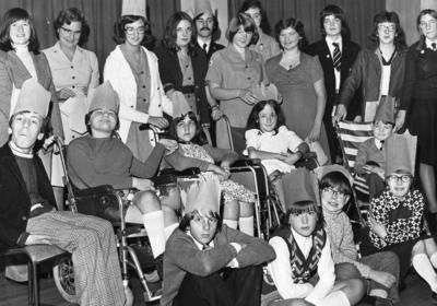Reunion party of children with members of the Staffordshire Red Cross.
