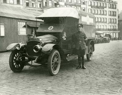 Vauxhall Ambulance at BRCS Garage, Boulogne