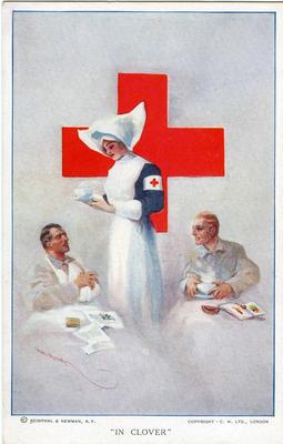 Postcard, artist's rendition of VAD nurse bringing tea to wounded patients