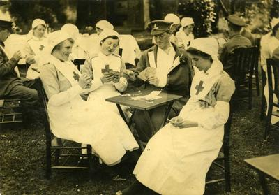 VADs playing cards with patient