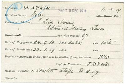 Personnel card of Mary Watkin, Leigh House, Lancs who was a nurse