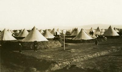 Black and white photograph of a refugee camp in Salonika 1912-1913