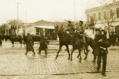 Black and white photograph of the Bulgarian Cavalry on patrol in Salonika 1912-1913