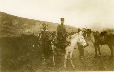 Black and white photograph of the British Red Cross mission on the march in Macedonia 1912-1913