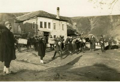 Black and white photograph of the Vladi Klissura building in Macedonia where the British Red Cross were billeted during the march through Macedonia 1912-1913