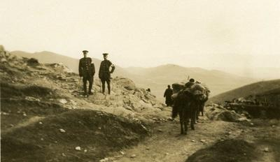 Black and white photograph of the British Red Cross march in Macedonia 1912-1913