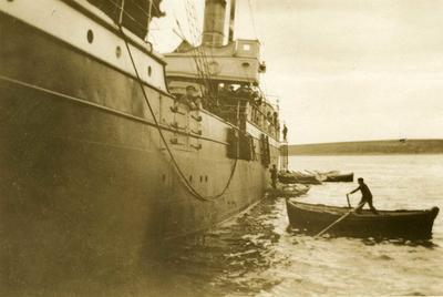 Black and white photograph of a steamer with the British Red Cross mission at Calchis in Salonika 1912-1913