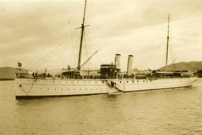 Black and white photograph of the Greek Royal Yacht in Salonika 1912-1913