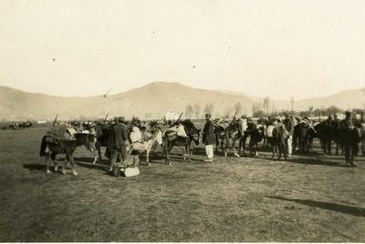 Black and white photograph of the British Red Cross mission loading up at Mavrozo 1912-1913